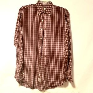 Peter Millar Large Burgundy Plaid Cotton Shirt
